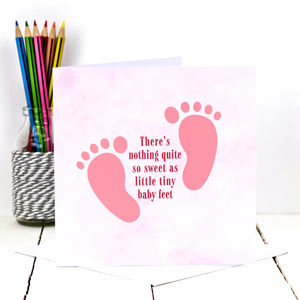 New Baby Card 'Tiny Baby Feet' In Pink - new baby cards