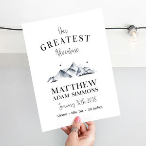 'Our Greatest Adventure' Personalised Nursery Print - nursery pictures & prints