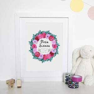 Personalised Floral Baby Watercolour Print - baby's room