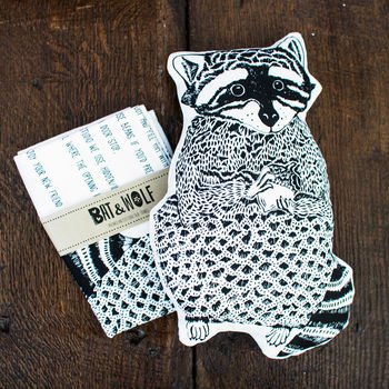 Screen Printed Make Your Own Raccoon Tea Towel