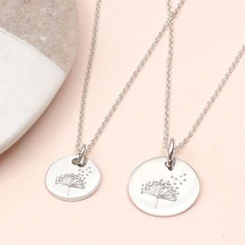 Personalised Mother And Daughter Dandelion Necklace Set