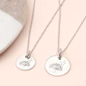 Personalised Family Wish Dandelion Necklace Set