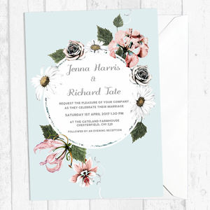 Personalised Pastel Floral Wedding Invitations - invitations