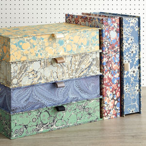 Box File In Marbled Print - desk accessories