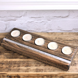 Personalised Wooden Tealight Holder - 5th anniversary: wood