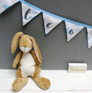 Personalised Baby Gift Blue Clouds Bunting