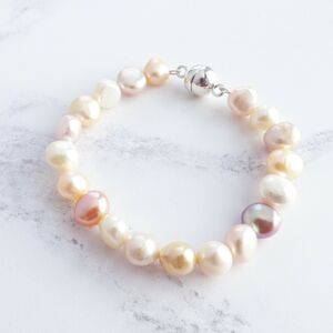 Pink, Peach And Cream Pearl Bracelet