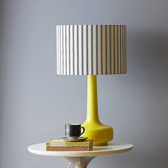 Beau Midcentury Table Lamp In Yellow With Ticking Shade