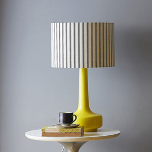Bell Bottom Table Lamp In Yellow With Ticking Shade