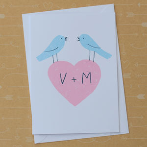 Lovebirds Screenprinted Card