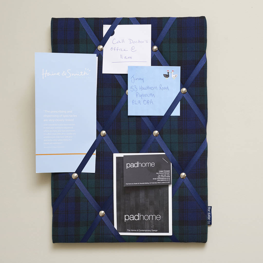 Blackwatch Tartan No Pins Memo Board