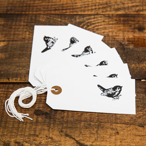 Set Of Six Handprinted Wren Letterpress Gift Tags