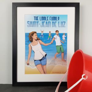 Personalised Family Beach Holiday Comic Book Print
