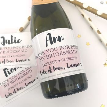 Thank You For Being My Bridesmaid Watercolour Label