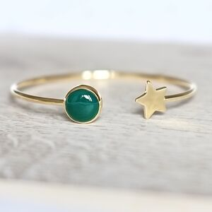 Gold Star And Birthstone Adjustable Bangle