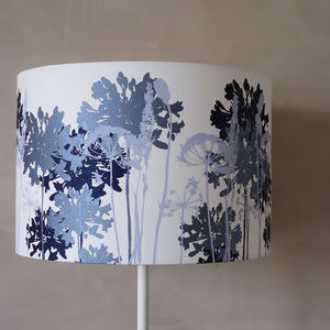 White Floral Printed Lampshade Navy And Pale Blue