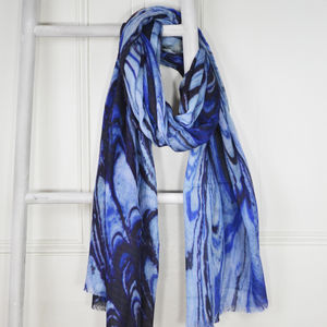 Isidore Blue Marble Print Wool Silk Blend Scarf - pashminas & wraps