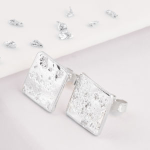 Ashes Or Hair Square Memorial Stud Earrings