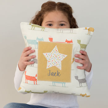 Personalised Little Foxes Children's Cushion