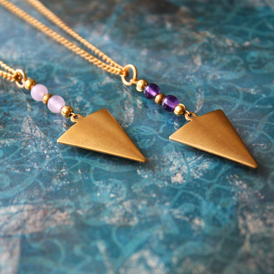 Arrow Head Semi Precious Stone Necklace