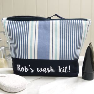 Personalised Striped Wash Bag - wash & toiletry bags