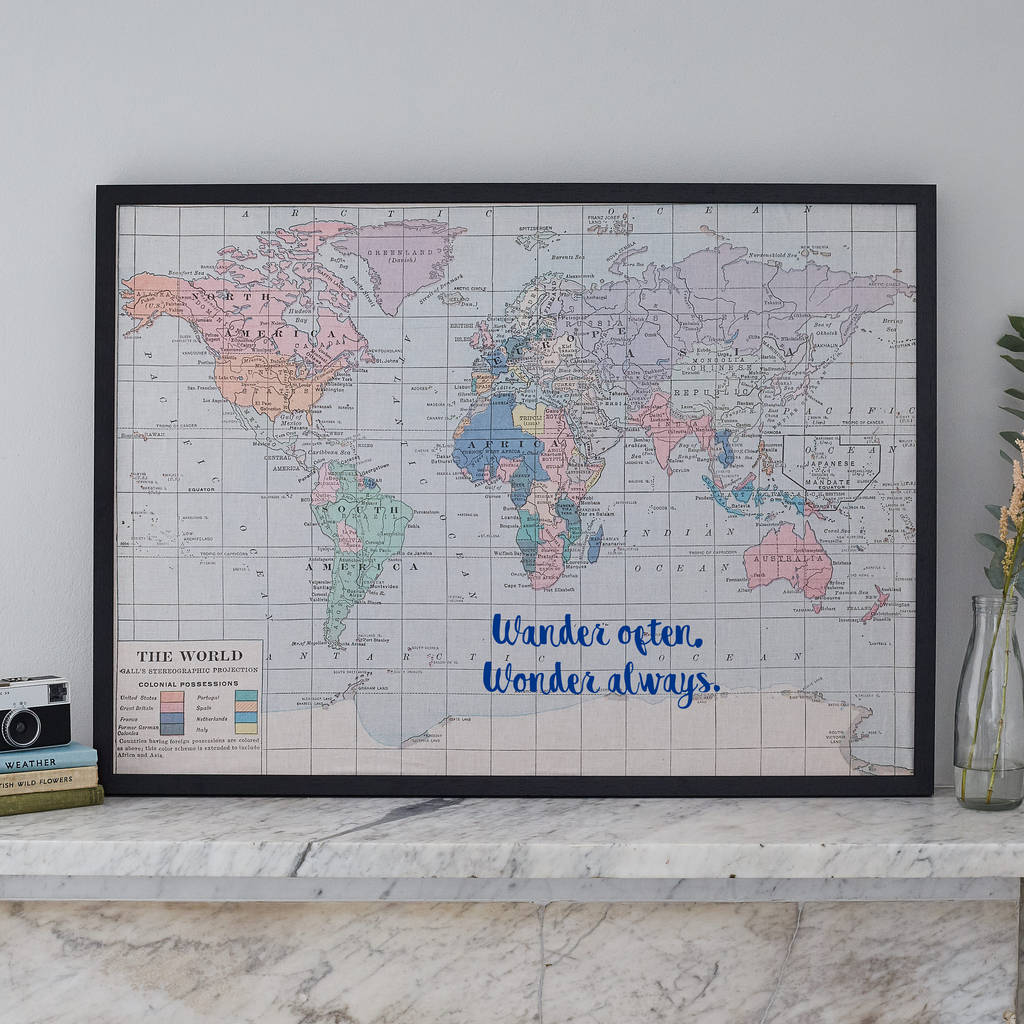 Printed fabric world map noticeboard by the crafty traveller wander often wonder always map pin board gumiabroncs Images