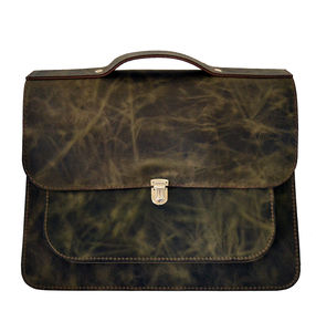 Leather Satchel Backpack Green