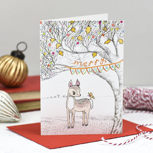 'Deer And Bird' Christmas Card