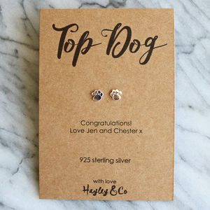Top Dog Sterling Silver Paw Print Earrings - earrings
