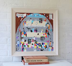 'Gorgeous Wonderful Books' Original Framed Painting - paintings