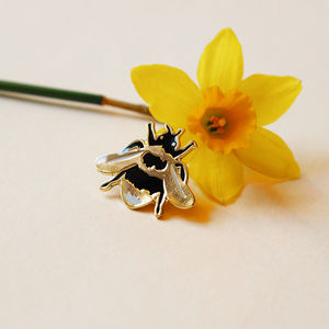 Gold British Bee Enamel Lapel Pin