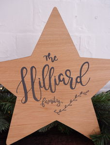 Personalised Modern Calligraphy Christmas Family Star - christmas decorations