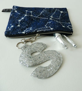 Star Constellation Purse With Silver Initial Charm
