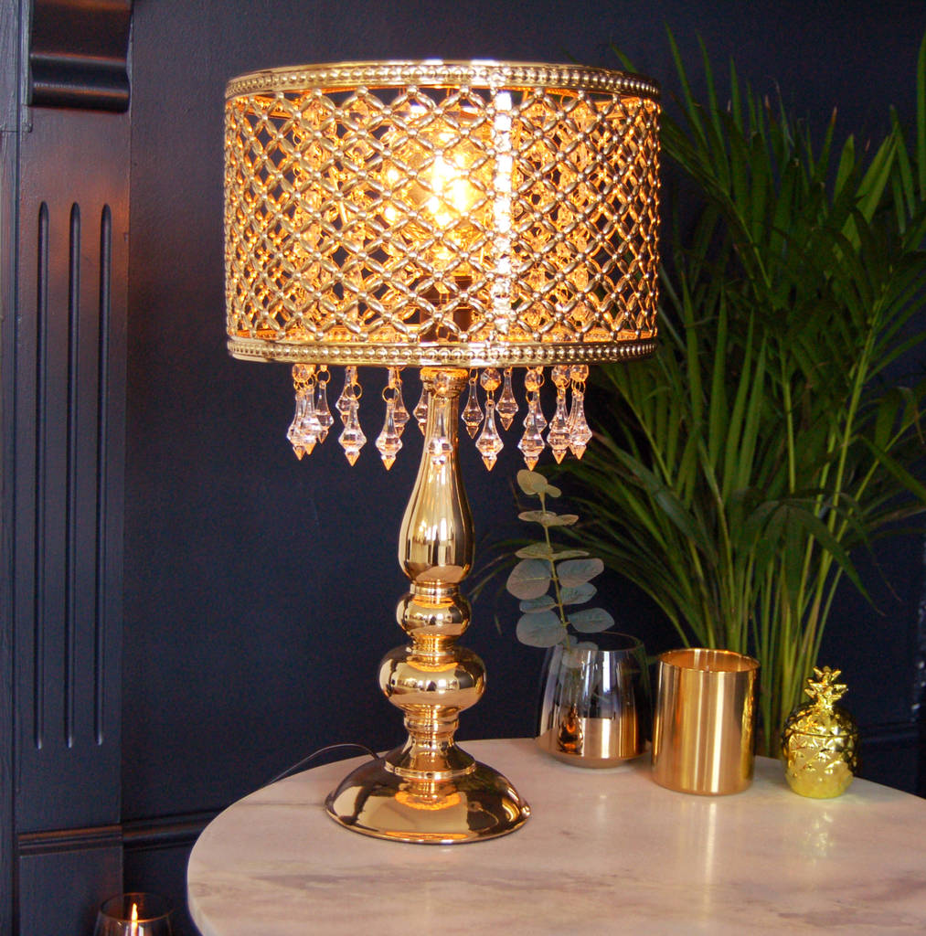 Gold Table Moroccan Lamp Chandelier Crystal Bedside By