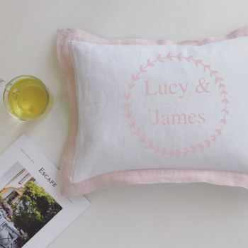 Personalised Partners Cushion With Floral Wreath