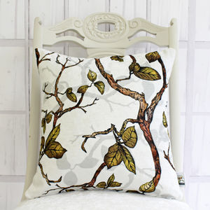 Inky Branches And Leaves Botanical Cushion - whatsnew