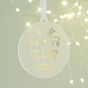 Just Married Christmas Decoration Personalised Foil - tree decorations