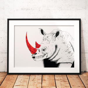 Rhino African Animal Illustration And Pattern Print