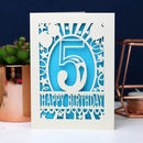 Child's Papercut Age Birthday Balloons Card