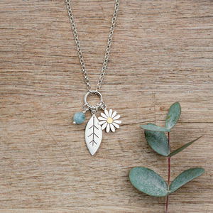 Aster Flower And Leaf Pendant In Silver And 18ct Gold