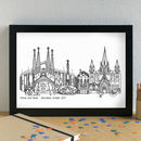 Personalised Barcelona Skyline Art Print