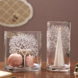 Winter Forest Glass Candle Holders
