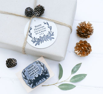 Christmas Stamp With Fir Cone Border