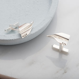 Personalised Paper Plane Cufflinks - men's jewellery