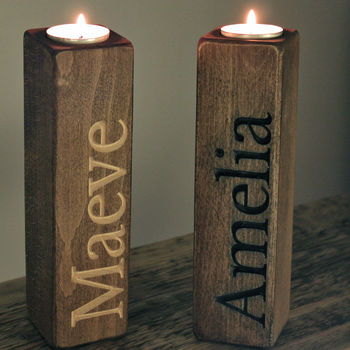 Two Carved Personalisation Wooden Candle Holders Rustic Dark Beech Finish