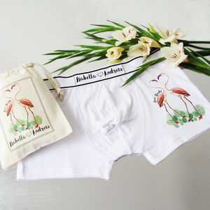 Love Birds, Flamingo, Personalised Men's Pants