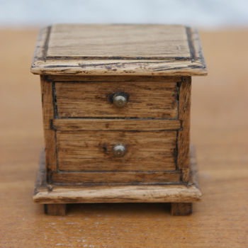 Jacobean Style Dolls House Miniature Oak Bedside Chest