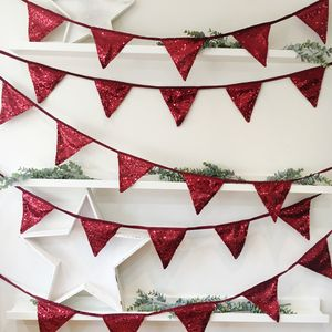 Christmas Berry Red Sequin Bunting - children's room