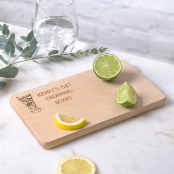 Personalised Gin And Tonic Wooden Chopping Board