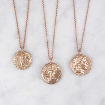 Roman style coin necklace rose gold plated